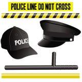 De elementeninzameling, hoed, knuppel en signalen van de politie Stock Afbeelding