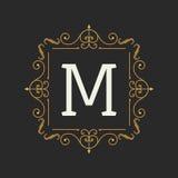 De elementenmalplaatje van het monogramontwerp Brieven Uitstekende Insignes of Logotype Kalligrafisch lineartontwerp Bedrijfs tek Stock Afbeelding