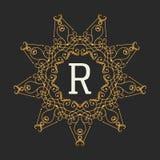 De elementenmalplaatje van het monogramontwerp Brieven Uitstekende Insignes of Logotype Kalligrafisch lineartontwerp Bedrijfs tek Royalty-vrije Stock Foto's