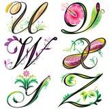 De elementenontwerp van alfabetten - reeksU aan Z Stock Foto