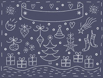 De elementenprentbriefkaar van Kerstmis Stock Foto's