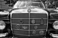 De elementskyddsgallret och emblemen klubbar Mercedes-Benz W112, 300SE Arkivbilder