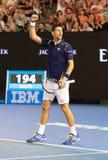 De elf keer Grote Slagkampioen Novak Djokovic van Servië viert overwinning na zijn gelijke van de Australian Open 2016 kwartfinal stock afbeeldingen