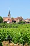 De Elzas, het schilderachtige dorp van mittelbergheim Stock Foto's