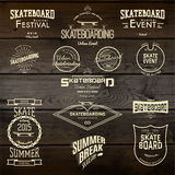De emblemen en de etiketten van skateboardkentekens voor om het even welk gebruik Stock Foto