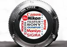 De emblemen en de merken van camerafabrikanten stock foto