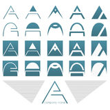 De emblemen en de pictogrammen plaatsen met brief A Royalty-vrije Stock Fotografie