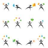 De emblemen en de pictogrammen van de ecologie Stock Afbeelding