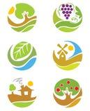 De emblemen op de themalandbouw Royalty-vrije Stock Foto