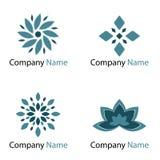 De emblemen van bloemen - blauw Royalty-vrije Stock Foto