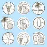 De emblemen van de schetsvakantie Stock Afbeeldingen