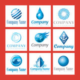 De emblemen van het bedrijf in blauw vector illustratie