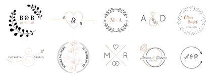 De emblemeninzameling van het huwelijksmonogram, de hand getrokken moderne minimalistic en bloemenkaarten van de malplaatjesuitno stock illustratie