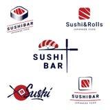De Emblemenmalplaatjes van de sushibar Geplaatst Inzameling van vectoremblemen voor sushi Embleemontwerp voor restaurants van Jap vector illustratie