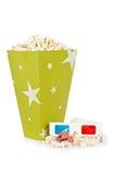 De emmer van de popcorn, twee kaartjes en 3D glazen Royalty-vrije Stock Foto