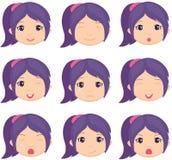 De emotie van het Animemeisje: vreugde, verrassing, vrees, droefheid, verdriet, het schreeuwen Stock Fotografie