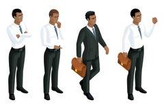 De emoties mannelijke Afrikaanse Amerikaanse, 3d van Bedrijfs isometrypictogrammen mensen, algemene manager, procureur Uitdrukkin vector illustratie