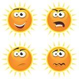 De Emoties van de Pictogrammen van de Zon van het beeldverhaal Royalty-vrije Stock Afbeelding