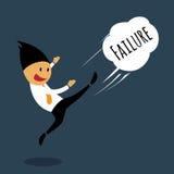 De emoties van de zakenmanmislukking door weg te schoppen. Stock Foto