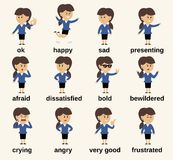 De emoties van het bedrijfsvrouwenkarakter Royalty-vrije Stock Afbeelding