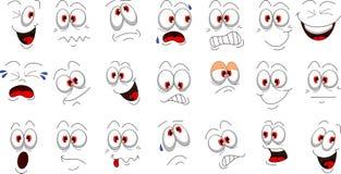 De emoties van het beeldverhaalgezicht voor u ontwerp worden geplaatst dat Royalty-vrije Stock Foto's