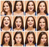 De emoties van jonge donkerbruine vrouw studio stock afbeelding