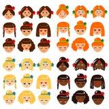 De emotiesinzameling van meisjesgezichten Stock Foto