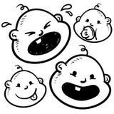 De emotiesschets van babys Stock Afbeeldingen