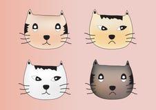 De emotievector van het kattengezicht, kattenpictogram, kattenfamilie Stock Foto