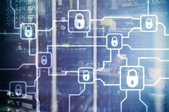 De encryptie van de Blochaininformatie Cyberveiligheid, crypto munt royalty-vrije stock foto's