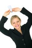 De Energie van de Holding van de vrouw bewaart Gloeilamp Royalty-vrije Stock Afbeelding