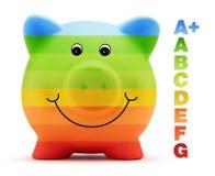 De energie van de schaalklasse - besparingenkleur met spaarvarken Stock Foto's