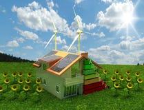 De energie van het huis - besparingsconcept Stock Foto