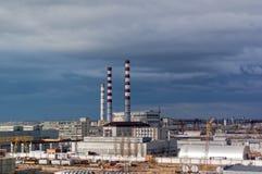 De Energie van de stad en de Warme Fabriek van de Macht Tyumen Rusland Stock Afbeeldingen