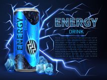 De energiedrank kan omringd van elektrolossingen en vonken op donkerblauw Verpakkende reclame vectorachtergrond royalty-vrije illustratie