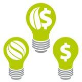 De energiepictogrammen van de Ecobesparing Stock Foto's