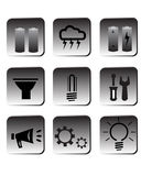 De energiepictogrammen van Eco Stock Foto