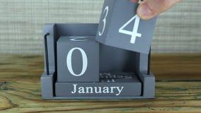 4 de enero, calendario del cubo almacen de metraje de vídeo