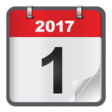 1 de enero calendario en el fondo blanco Foto de archivo libre de regalías
