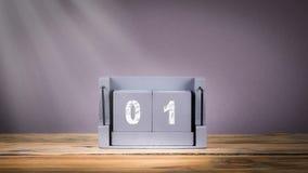 1 de enero calendario de madera en el movimiento, Año Nuevo almacen de video