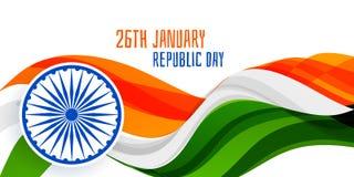 26 de enero concepto ondulado de la bandera de la bandera del día de la república libre illustration