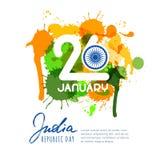26 de enero, día de la república de la India Vector el diseño para la tarjeta de felicitación, bandera del día de fiesta, aviador libre illustration
