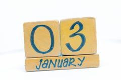 3 de enero Día 3 del mes, calendario en fondo de madera Invierno, concepto del año fotos de archivo libres de regalías