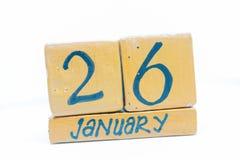 26 de enero Día 26 del mes, calendario en fondo de madera Invierno, concepto del año fotografía de archivo libre de regalías