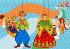 26 de enero día feliz de la república de fondo de la India stock de ilustración