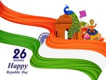 26 de enero día feliz de la república de fondo de la India libre illustration