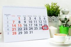 27 de enero Día 27 de mes Foto de archivo libre de regalías