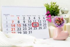18 de enero Día 18 de mes en el calendario blanco Fotografía de archivo libre de regalías