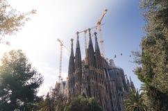 31 de enero de 2016 Barcelona, España Los trabajos sobre la catedral de Sagrada Familia están progresando Fotografía de archivo libre de regalías