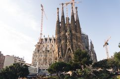 31 de enero de 2016 Barcelona, España Los trabajos sobre la catedral de Sagrada Familia están progresando Imagenes de archivo